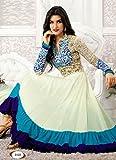 Fabboom New Heavy Kriti Sanon White & Aqua Long Length Traditional Anarkali Suits- Free Size (FBA172-2122)