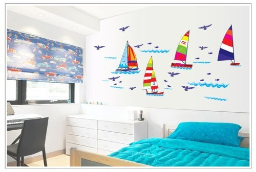 Kappier Sailing Boats in the Blue Ocean with Seagulls Peel & Stick Wall Decals - 1