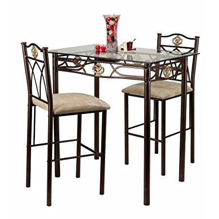 Crown Bistro 3-Piece Dining Set with Glass Table Top and 2 Chairs