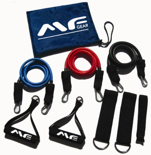 BLOWOUT SALE! 2011 Maximum Fitness Gear HEAVY DUTY 3pc LATEX Exercise Resistance Bands (ADJUSTABLE LT, MD & HV - 60lbs), BETTER THAN SINGLE BANDS! FREE Workout Guide, 1-3 Days Delivery! BEST DEAL!