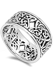 Women's Celtic Knot Eternity Fashion Ring .925 Sterling Silver Band Sizes 7-13