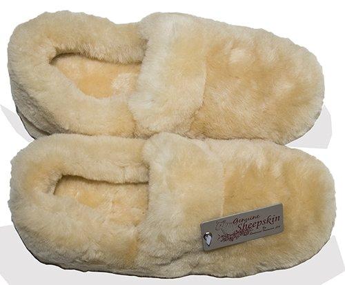 Luxury Ladies Girls Super Soft Genuine Sheepskin Slippers with Full Back - Size 6, Beige