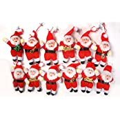 Pragati Pro Christmas Decoration Hanging Santa(red, 6inch,pack Of 12)