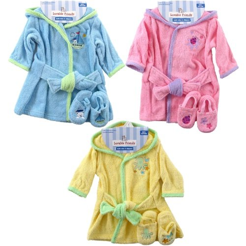 Color Bath Robe with Slippers - Woven Terry