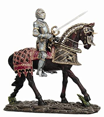 Large Suit of Armor Medieval Knight On Horse Charging With Long Sword Statue
