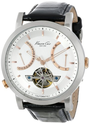 Kenneth Cole New York Women's KC8014 Automatic Round Silver Dial Rose Gold Detail Strap Watch