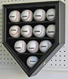 Home Plate Shape 12 Baseball Display Case Wall Cabinet Shadow Box, UV Protection Door, B12(UV)