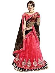 Inddus Women Pink & Black Unstitched Embroidered Lehenga Choli