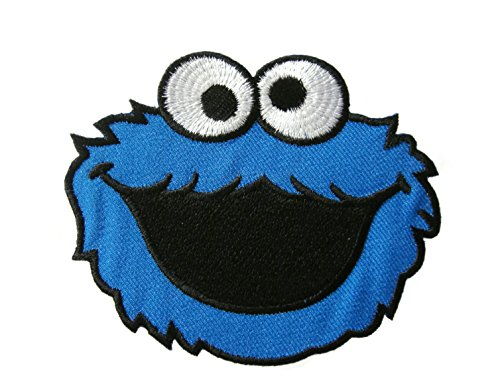 Cookie Monster Face the Muppets Applique Embroidered Iron on Patch