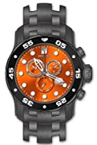 Invicta Mens Pro Diver Swiss Chronograph Hot Orange Dial Gunmetal IP Stainless Steel Watch 10378