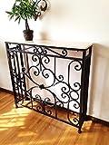 花台 飾り台 サイドテーブル 大理石 風 コンソールテーブル ブラック ロート アイアン フレーム 豪華装飾