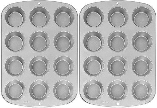 Wilton Recipe Right Nonstick 12-Cup Regular Muffin Pan (2, STANDARD) (Cupcake Pan compare prices)