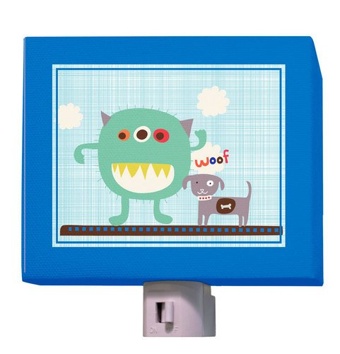 "Oopsy Daisy Lil' Monster and Pal Night Light, Blueaqua, 5"" X 4"""