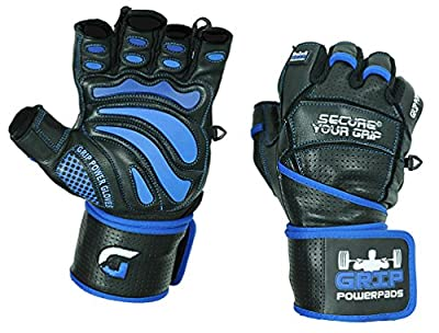"""Grip Power Pads Elite Leather Gym Gloves with Built-in 2"""" Wide Wrist Wraps - Leather Glove Design for Weight Lifting, Power Lifting, Bodybuilding & Strength Training Workout Exercises from Grip Power Pads"""