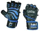 """Grip Power Pads® Elite Fitnessstudio Leder Handschuhe mit integriertem 2"""""""