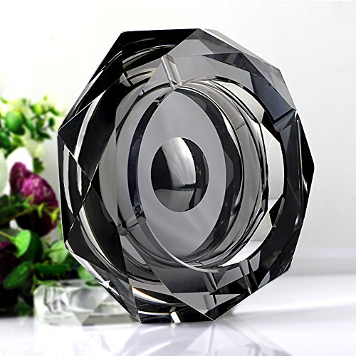 ECOOPRO® Quality Home Office Crystal Tabletop Cigarette Ashtray - Rhombus Shape