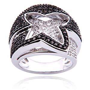 Sterling Silver Black Diamond and White Topaz Ring, Size 5