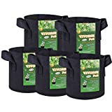 VIVOSUN 5-Pack 3 Gallons Fabric Pots Grow Bags with Handles