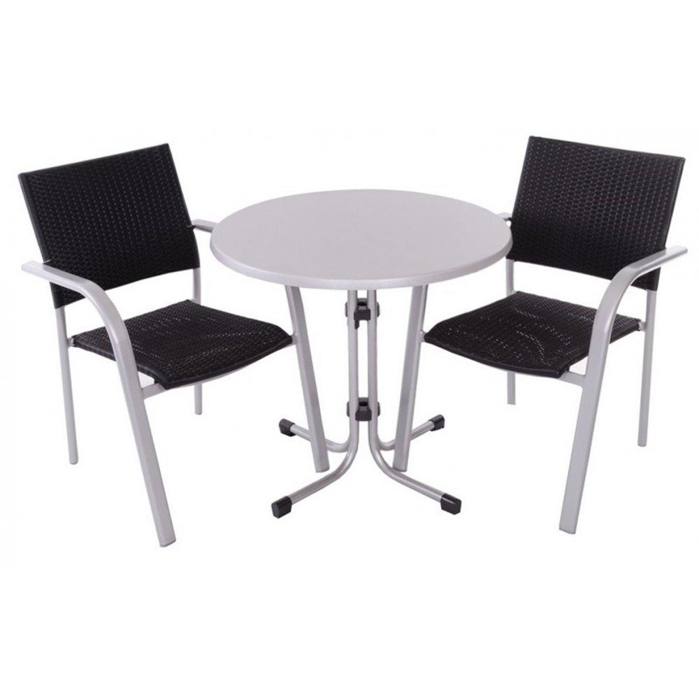JUSThome Albergo Wicker Gartenmöbel Sitzgruppe Gartengarnitur Set 2x Stuhl + 1x Tisch in Rattan-Optik