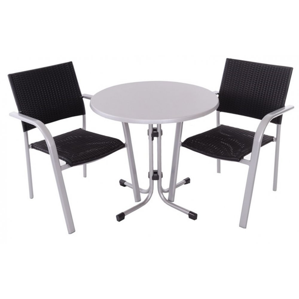 JUSThome Albergo Wicker Gartenmöbel Sitzgruppe Gartengarnitur Set 2x Stuhl + 1x Tisch in Rattan-Optik günstig bestellen
