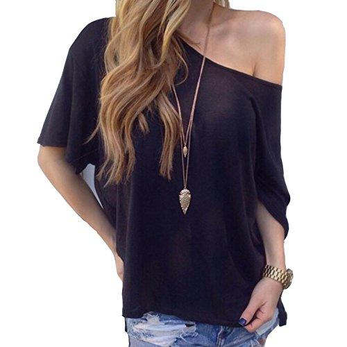 Damen Sommer Shirt Kurzarm Schulterfrei Bluse Hemden T-Shirt Crop Tops Oversize Off-Shoulder Schräg Kragen Asymmetrisch Casual Schwarz Weiß (M, Schwarz)