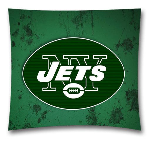 AM Sports NFL New York Jets Team Pattern Square Throw Pillow Covers for Couch and Bed, Ultra Soft Cotton Pillowcase, Size: 18x18 inches (45x45 cm) Sports Theme 2876