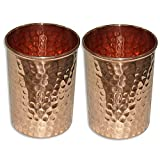AsiaCraft Pure Copper Hammered Handmade Glass Tumbler, Set Of 2