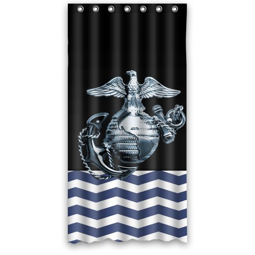 "Anhome Blue And White Chervon Printed Metal Us Marine Corps Shower Curtain 36""X 72"" back-641095"
