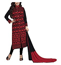 Arya Dress Maker Women's Georgette Unstitched Dress Material (Red and Black)