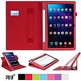 [コーナー保護型]Lenovo タブレット YOGA Tablet 2 Pro 13.3インチ(Android 4.4) ケース,Fyy® 滑り止め型 スマートケース  マグネット開閉式上質な素材付・ 分離可能 カードスロット付き ・ リストバンド付【全3色】レッド