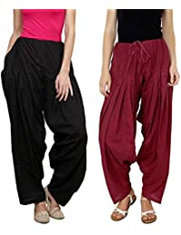 Daffodil Cotton Indian Black And Maroon Patiala Salwar Combo Pack Of 2 (Free Size)