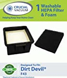 1 Dirt Devil F43 Easy Lite Cyclonic Bagless HEPA Filter and Foam vacuum cleaner Filter; Replaces Dirt Devil Part # F43 2PY1105000 (2-PY1105-000) and 1PY1106000; Designed and Engineered by Crucial Vacuum
