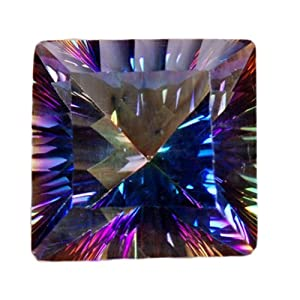 Mystic Quartz Unset Loose Gemstone Rainbow Squares 14mm Lab (Qty=1)
