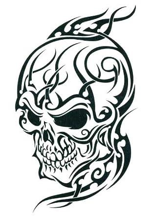 Amazon.com: Black Tribal Skull Temporary Body Art Tattoos