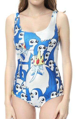 Ndb Penguin Cartoon One Piece Swimsuit Swimwear Bath Clothing