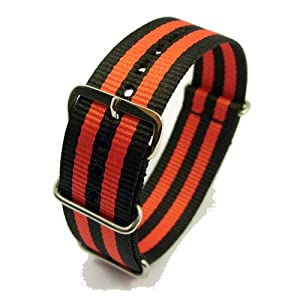 Zeitpunkt-Nylon Watchband black/red 22 mm