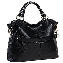 Sonyabecca Women Leather Handbag Travel Tote Bag for 13.3\'\' Laptop, black, normal