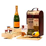 The Clarendon Vintage Wooden Wine Chest Hamper with 750ml Veuve Clicquot Yellow Label Champagne Brut, Snowdonia Mature Cheese Truckle, Rick Stein Savoury Biscuits & Fruit Spread Selection - Luxury Valentines, Mothers, Fathers Day, Corporate, Bronze, Silv