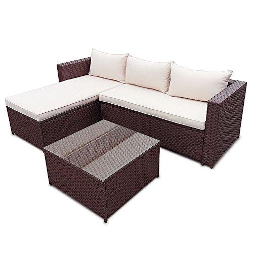 POLY RATTAN Corner Lounge Gartenset BRAUN Sofa Garnitur Polyrattan Gartenmöbel Neu bestellen
