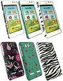 Emartbuy ® G600 Huawei Ascend Bundle Pack De 3 Clip On Caja De Protección / Portada / Piel - Jardín De Mariposas, Jardín De Las Rosas Y Zebra Negro Blanco