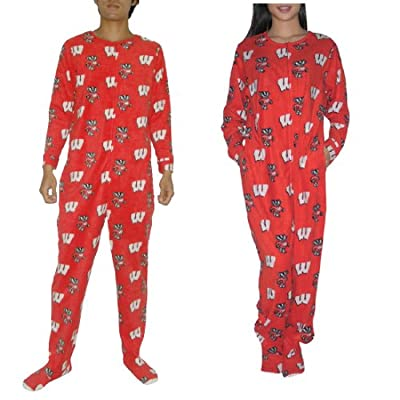 Polar Fleece One-Piece Footed Pajamas / Romper Jumpsuit - Red & White