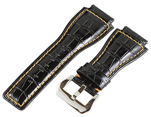 24Mm Black / Orange Croco Leather Replacement Watch Band Strap Fits Bell & Ross