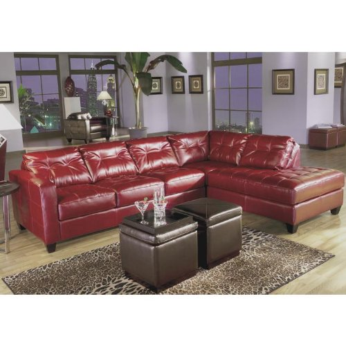 ARCHITECTURE Contemporary Allston Red Bicast Leather 3 Pc Living Room Furnit