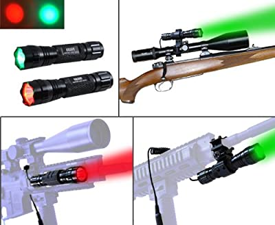 Orion H20 100 Yard Red or Green LED Coyote Hog Pig Varmint Predator Hunting Light Flashlight with Remote Pressure Switch & Scope, Rail or Barrel Rifle Mount by Orion Hunting Lights