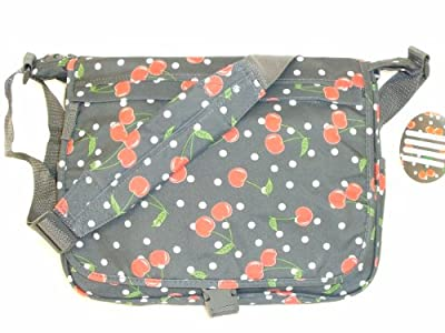 "14"" A4 Folder Size Grey Red Cherry Design Sling Style Messenger Shoulder Student School Pram Gym Hand Luggage Travel Bag by LaSoDa"