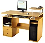 Computer Desk in Beech Finish with Keyboard Shelf, Home Furniture / Office Workstation #X36#
