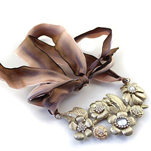 Heyjewels Vintage Ribbon Flower Statement Necklace Brozen/Brass Tone Fancy Chunky Bloom Cluster Bib Necklace Birthday Party Jewelry