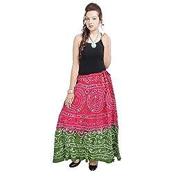 Prateek Retail Mirror Work Bandhej Rajasthani Cotton Skirt
