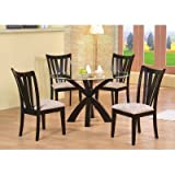 5pc Dining Table & Parson Chairs Set Rich Cappuccino Finish