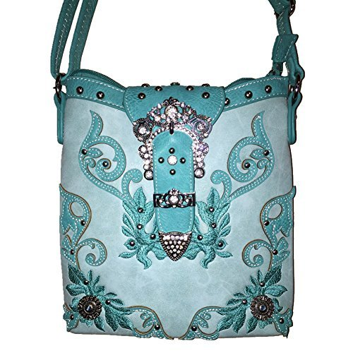2015 New Style Rhinestone Buckle Concho Concealed Carry Embroidered Leather Shoulder Handbag Purse and Matching Messenger Bag, Wallet in Turquoise (CC Turquoise Messenger Bag)